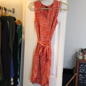 Orange and white tie waist dress